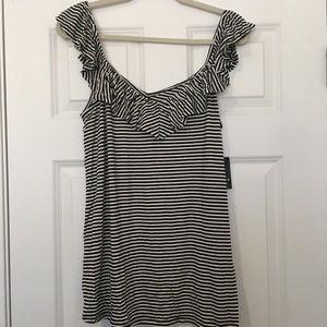 New Size 1 Torrid Black White Stripe Ruffle Shirt